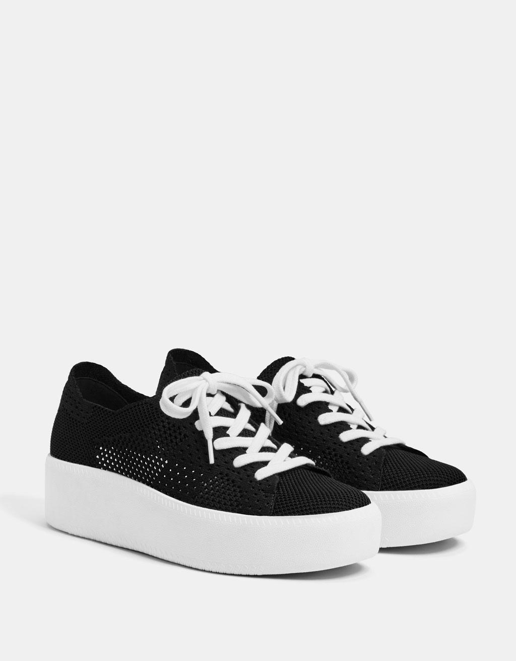 Mesh platform sneakers