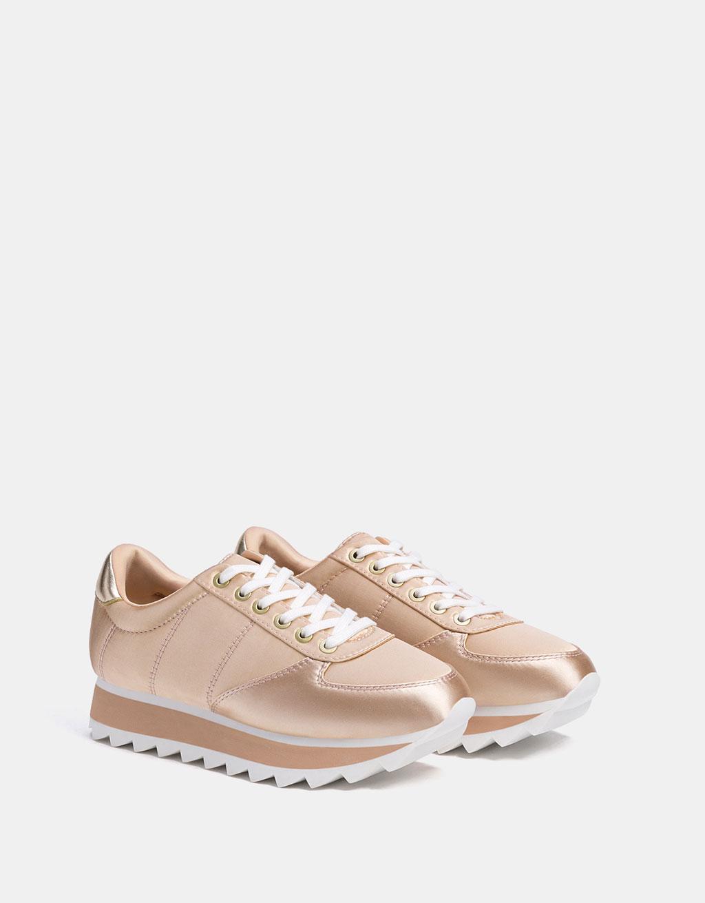 Satin platform sneakers