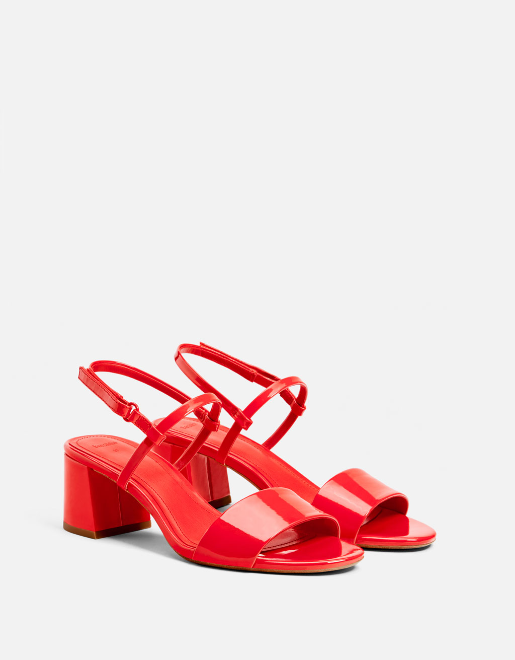 Patent finish mid heel sandals