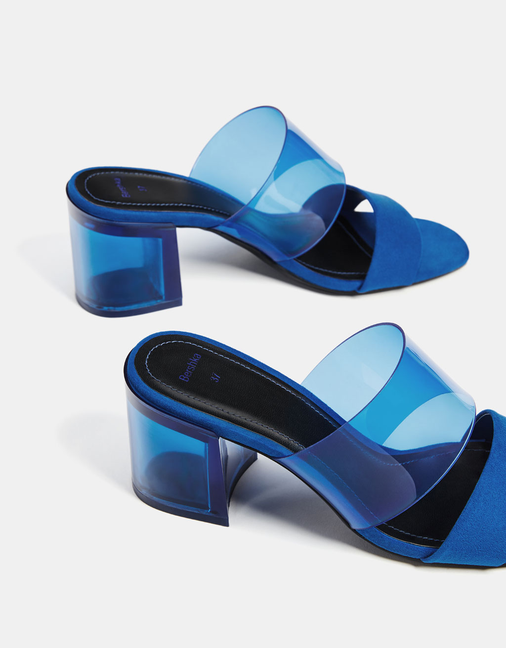 Mid-heel sandals with contrasting vinyl strap