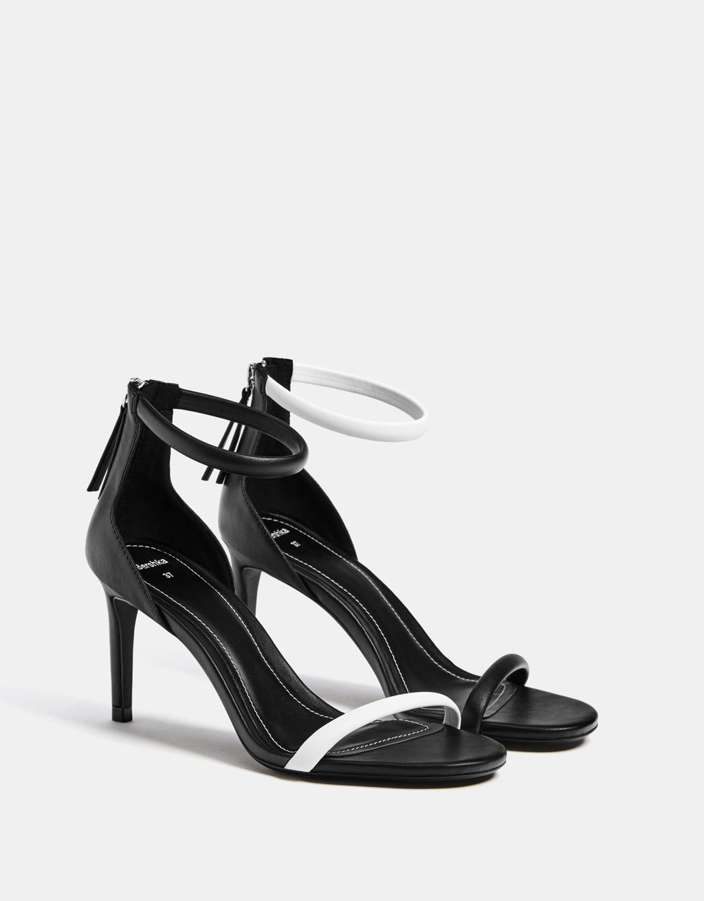 Two-tone tubular high-heel sandals