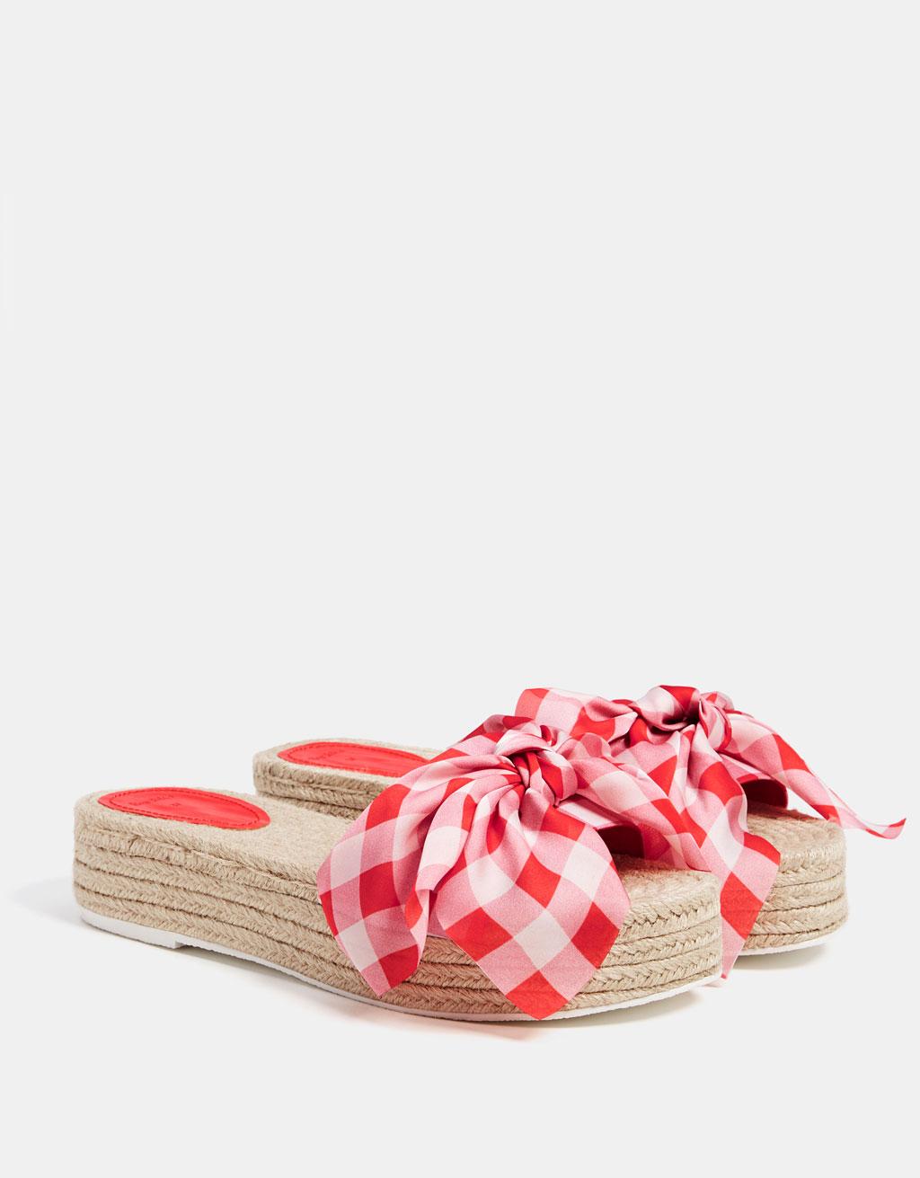 Jute platform bow sandals