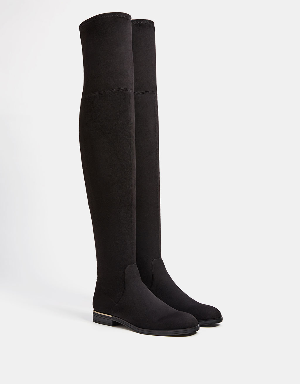 Flat elastic over-the-knee boots