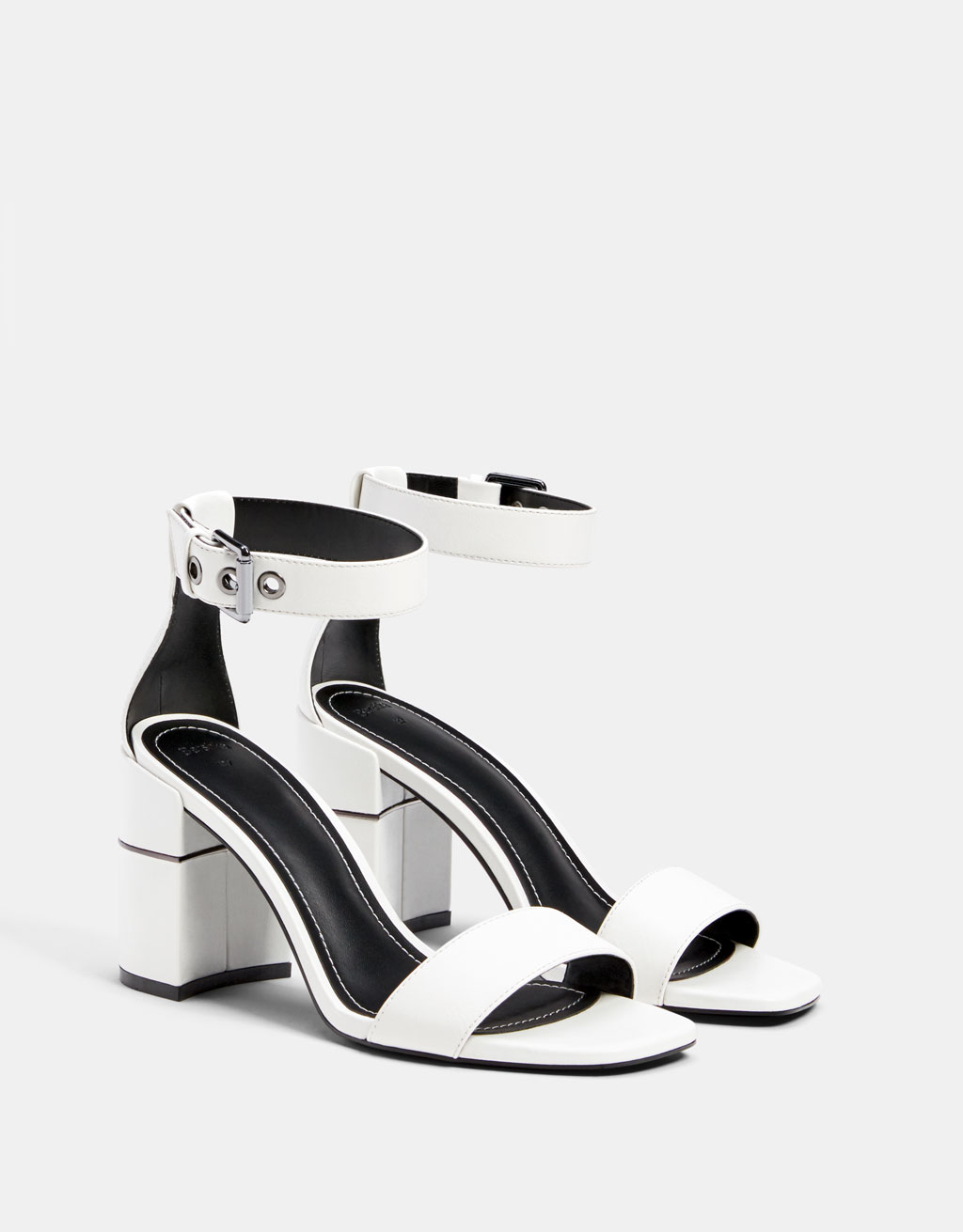 High-heel sandals with metallic detail