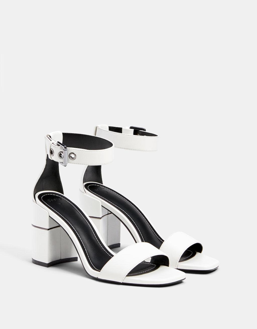 Sandale na petu s metalik petom