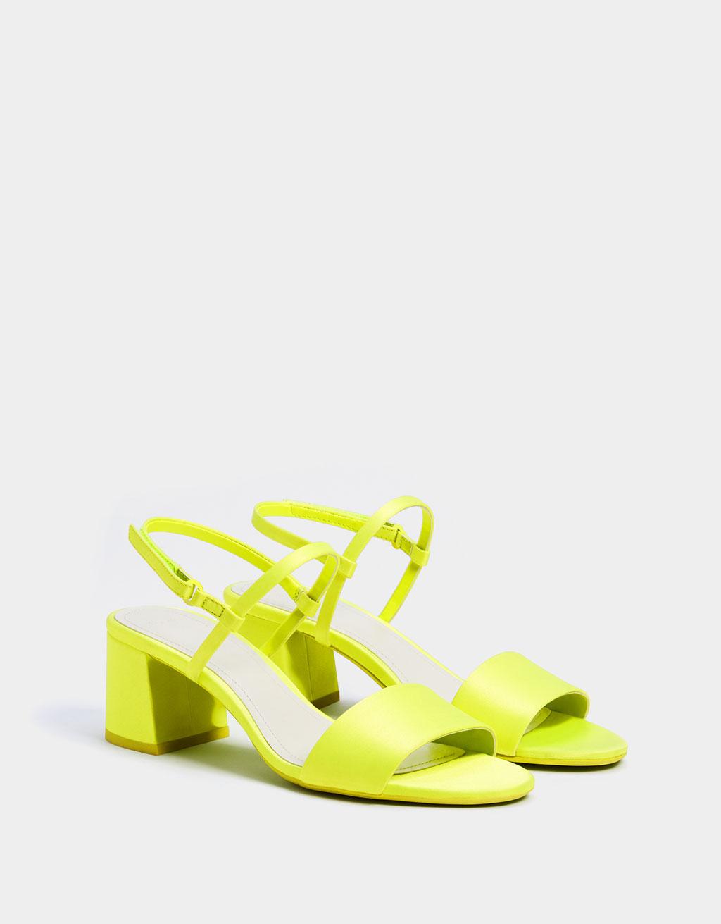 Neon mid-heel sandals