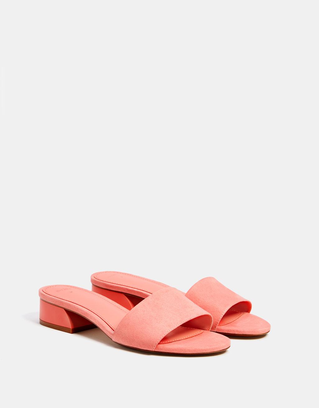 Sandale tip șlapi cu toc mediu