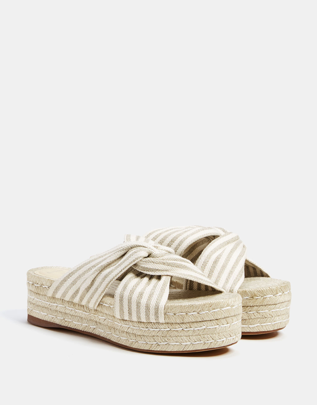 Striped sandals with jute platforms