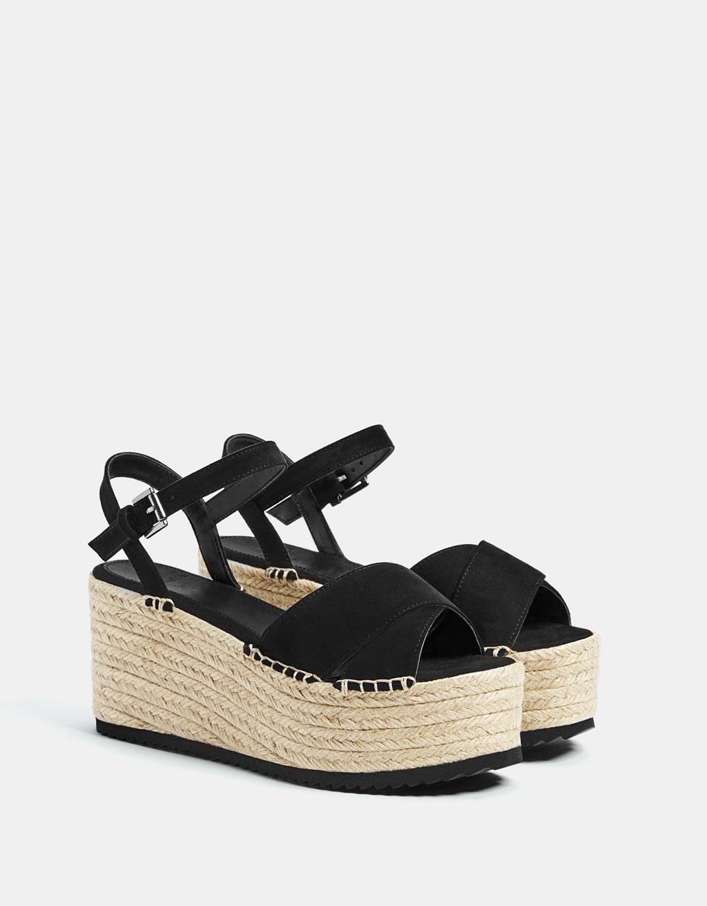 Black jute platform sandals