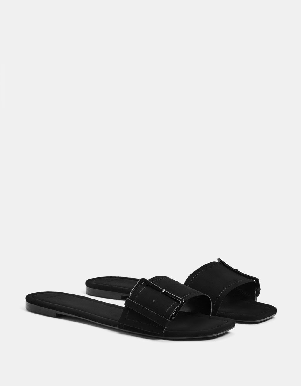 Buckled slide sandals