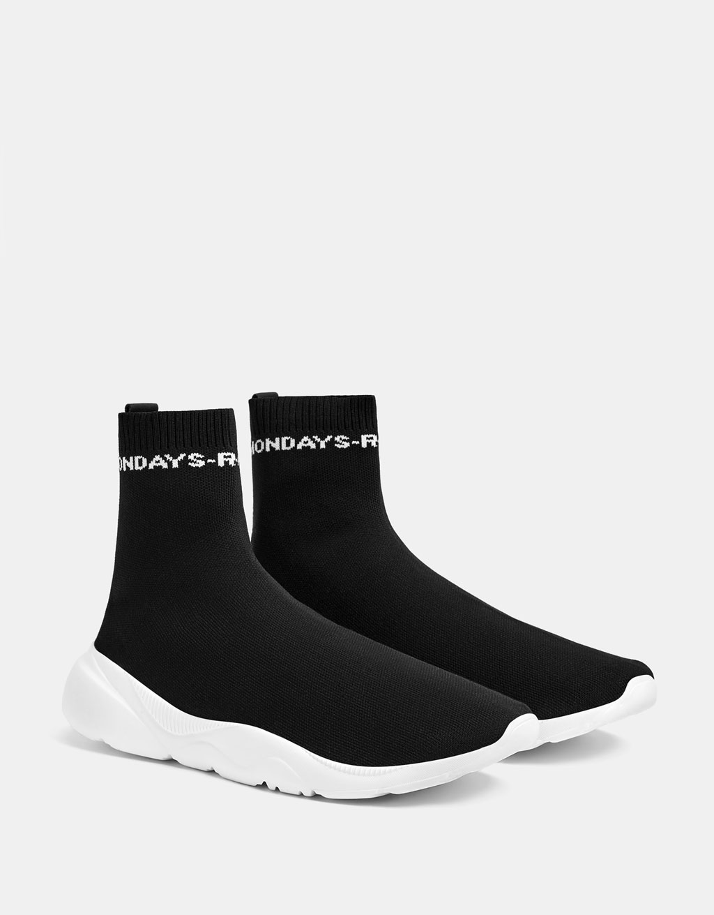 High-top slogan sock trainers