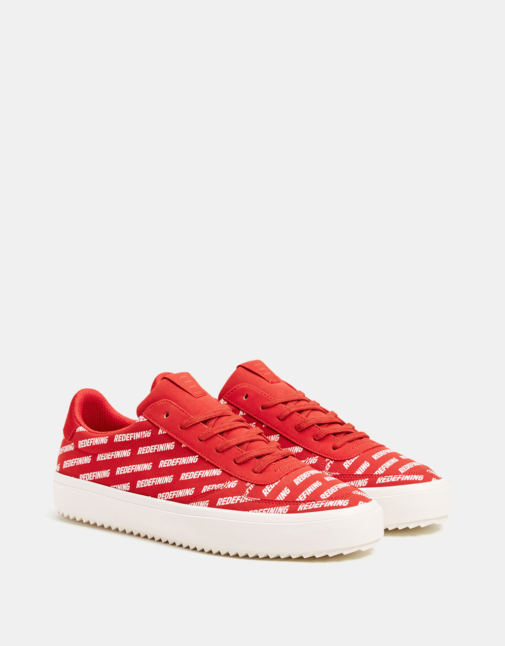 Men's red slogan trainers