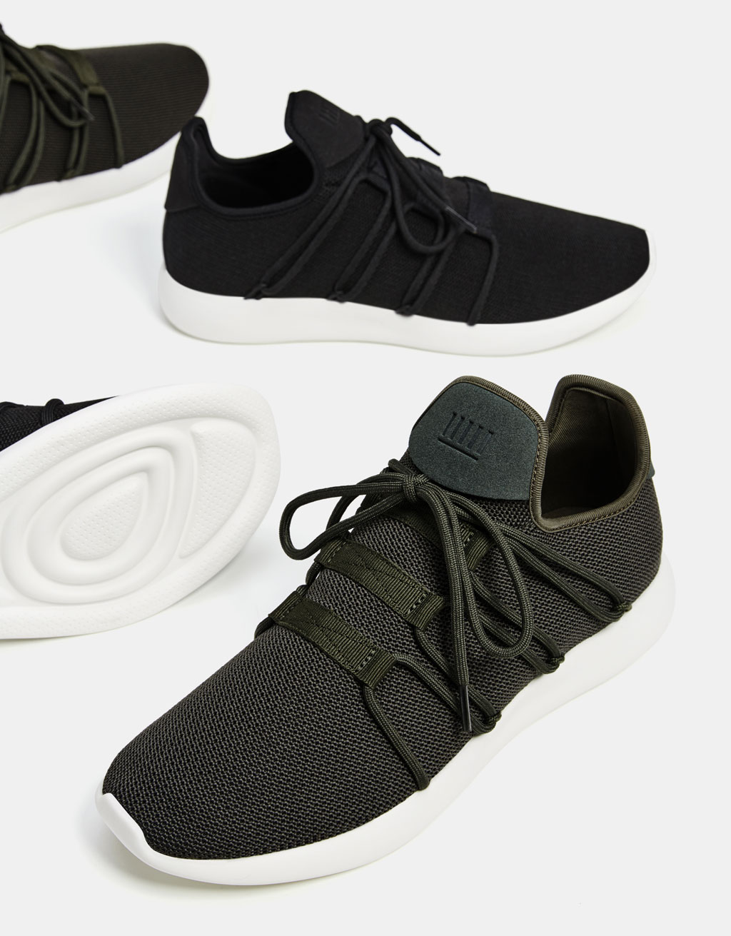 Men's sock-style lace-up sneakers