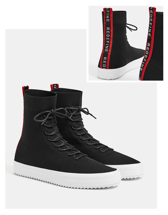 Bershka Men's High-top Sock-style Sneakers At £45.99