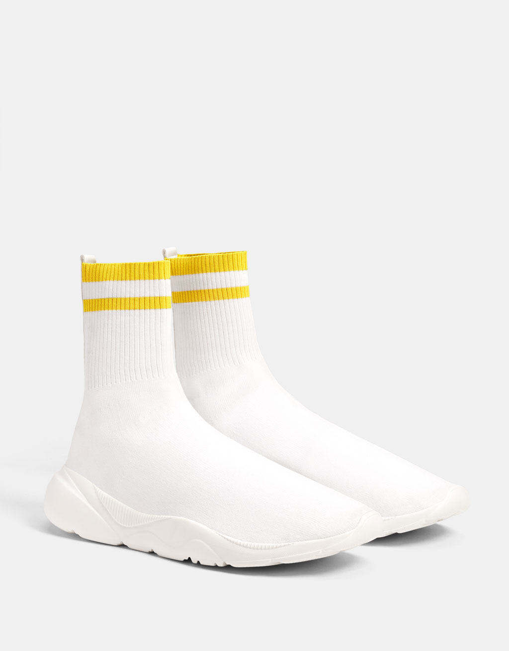 Men's high-top striped sock-style sneakers