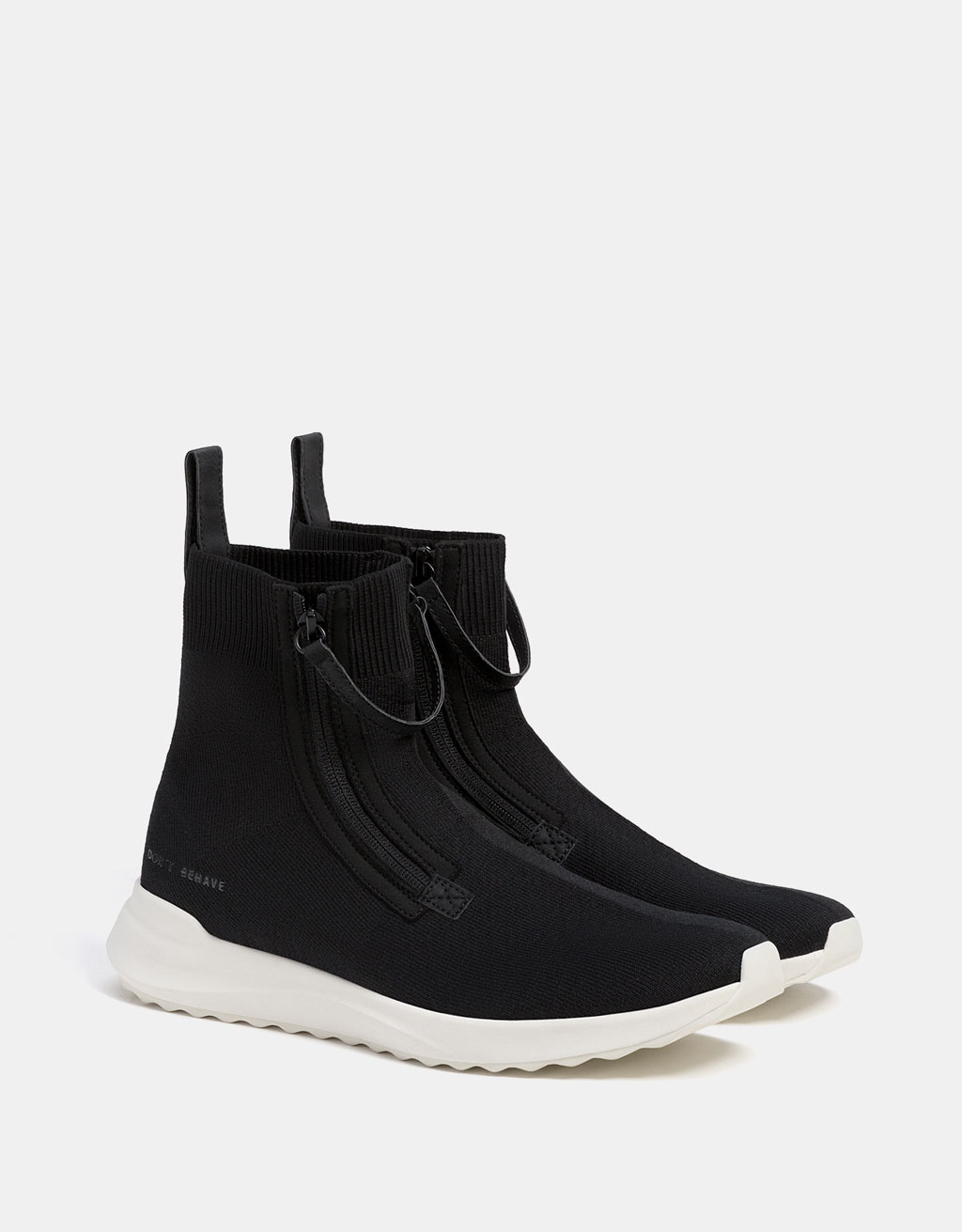 Men's high-top sock-style sneakers with zips