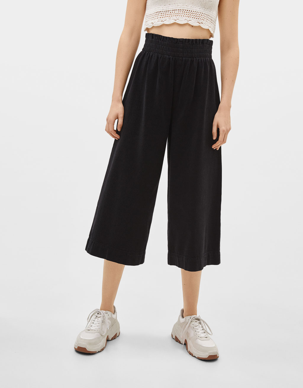 High waist denim culottes with elastic waistband