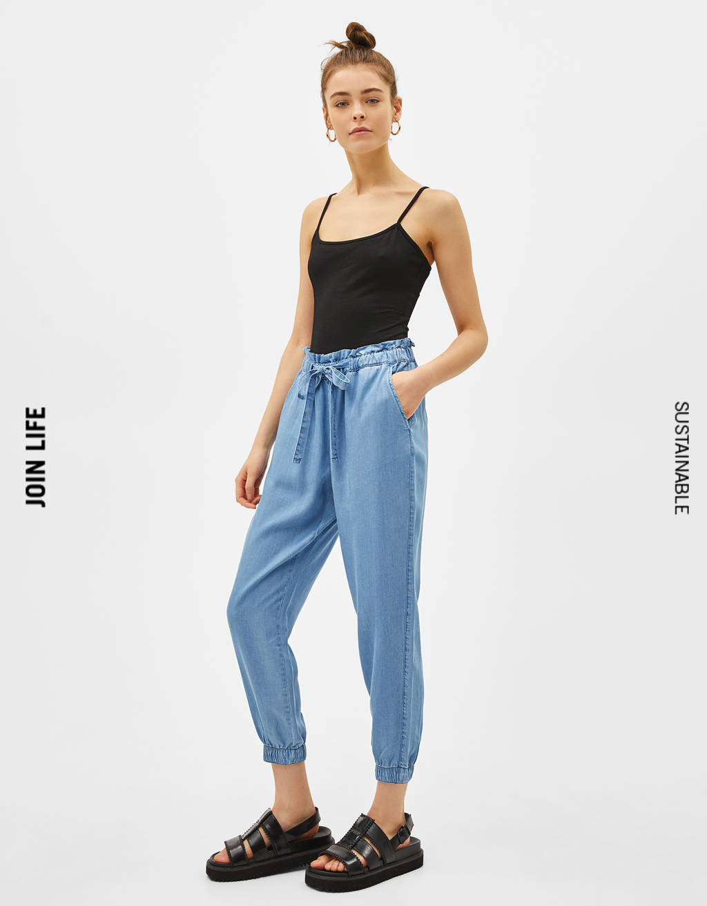 Pantalón Jogger denim TENCEL® High Waist