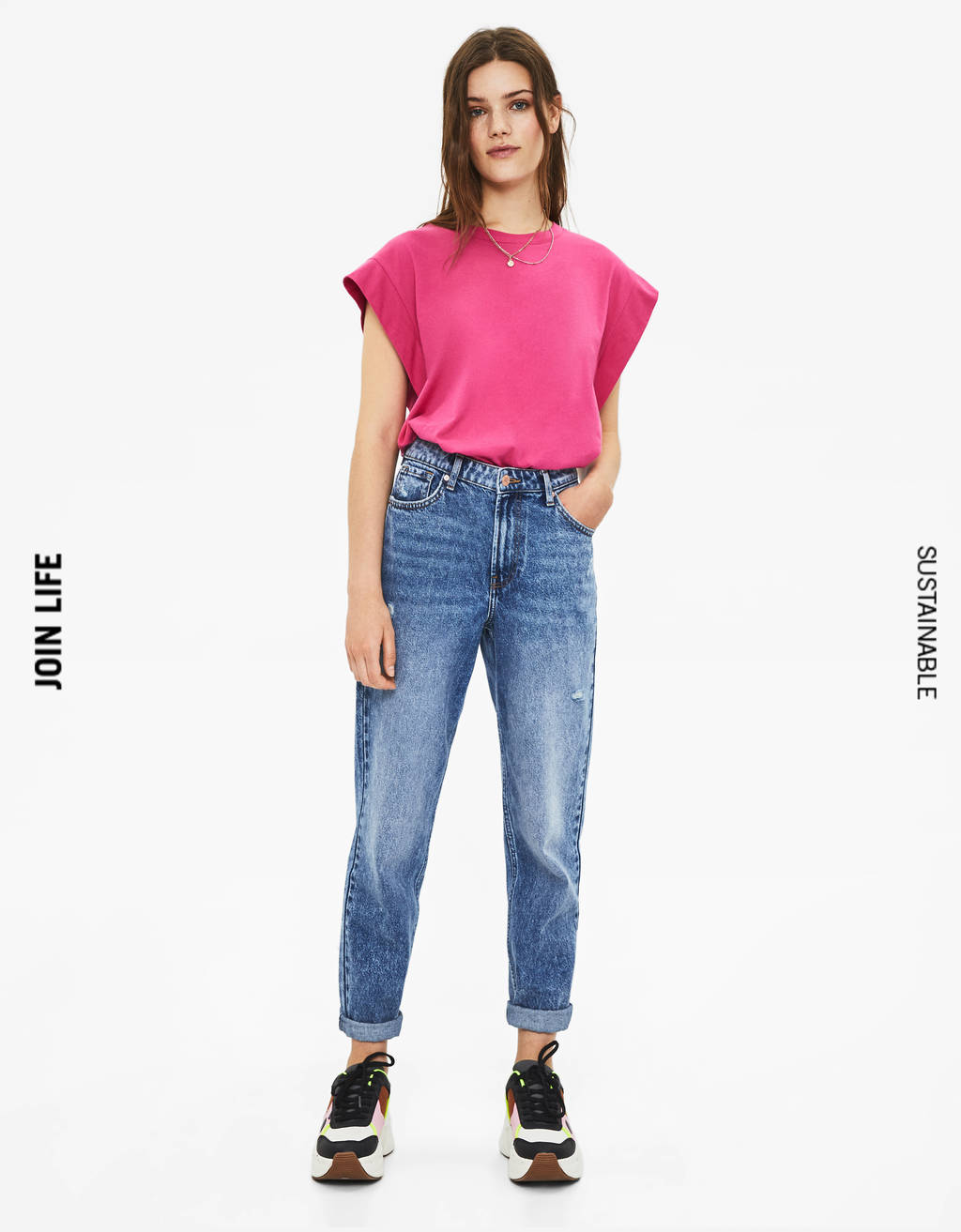 Jeans mom fit taille haute