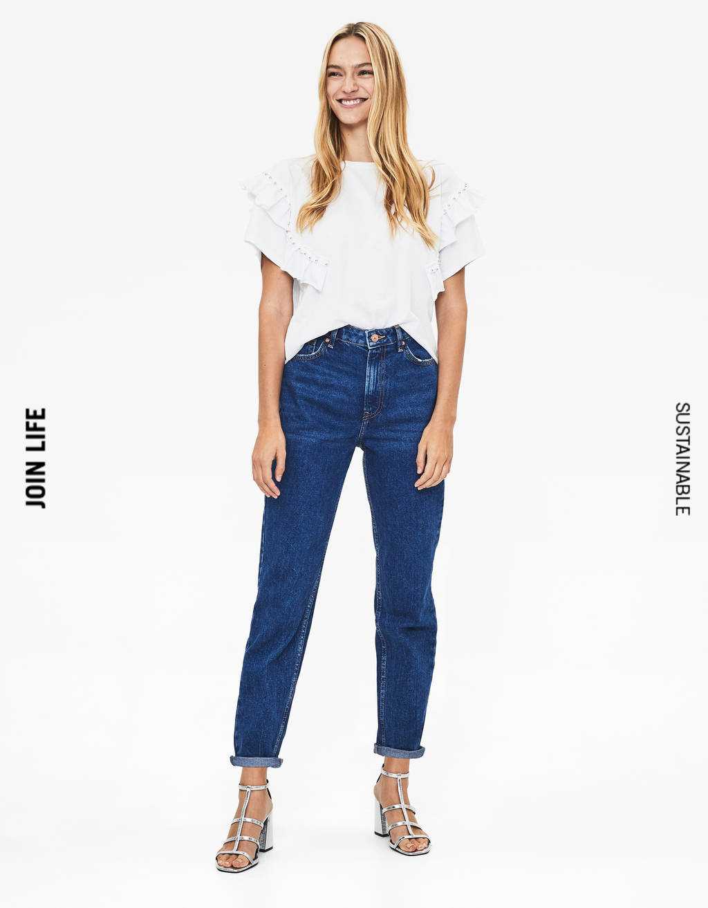 Jean coupe mom taille haute
