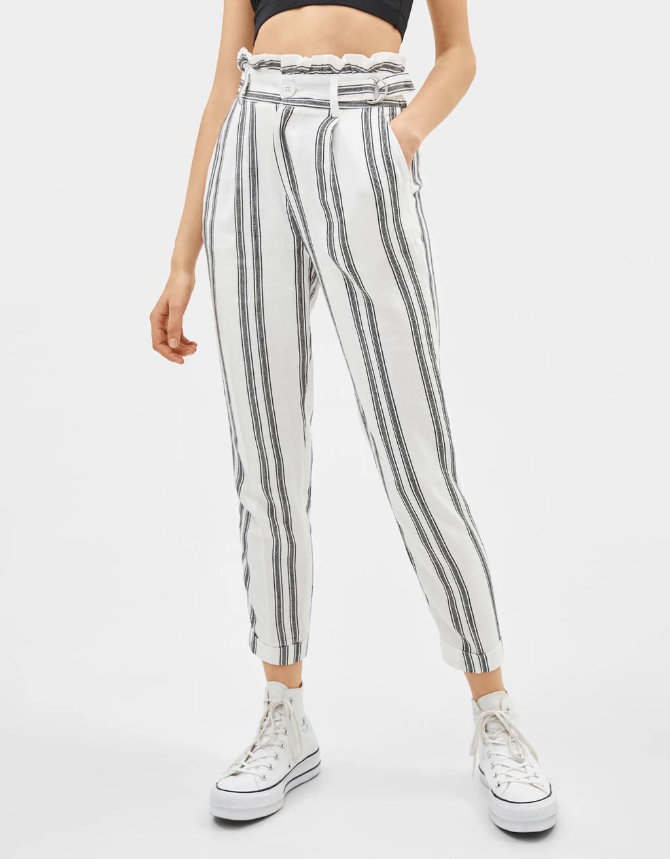 Pantalon paperbag à rayures