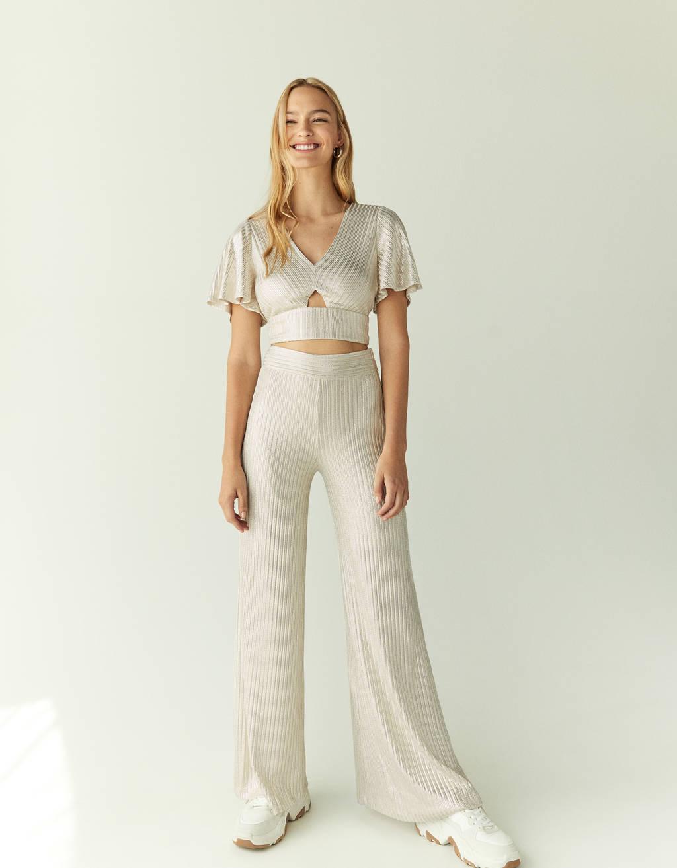 Metallic thread palazzo trousers