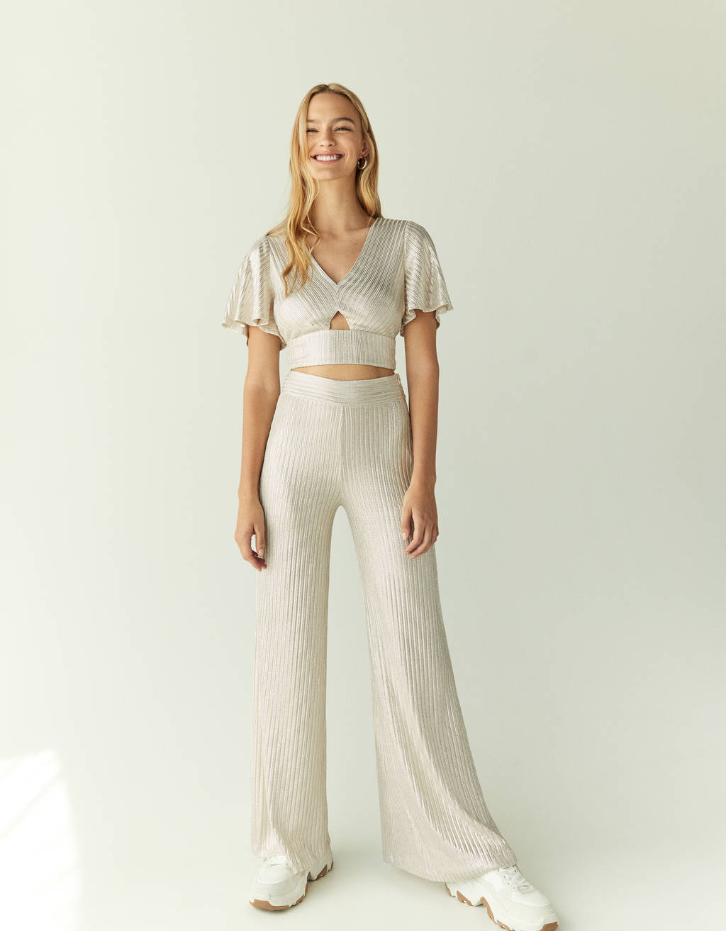 Metallic thread palazzo trousers