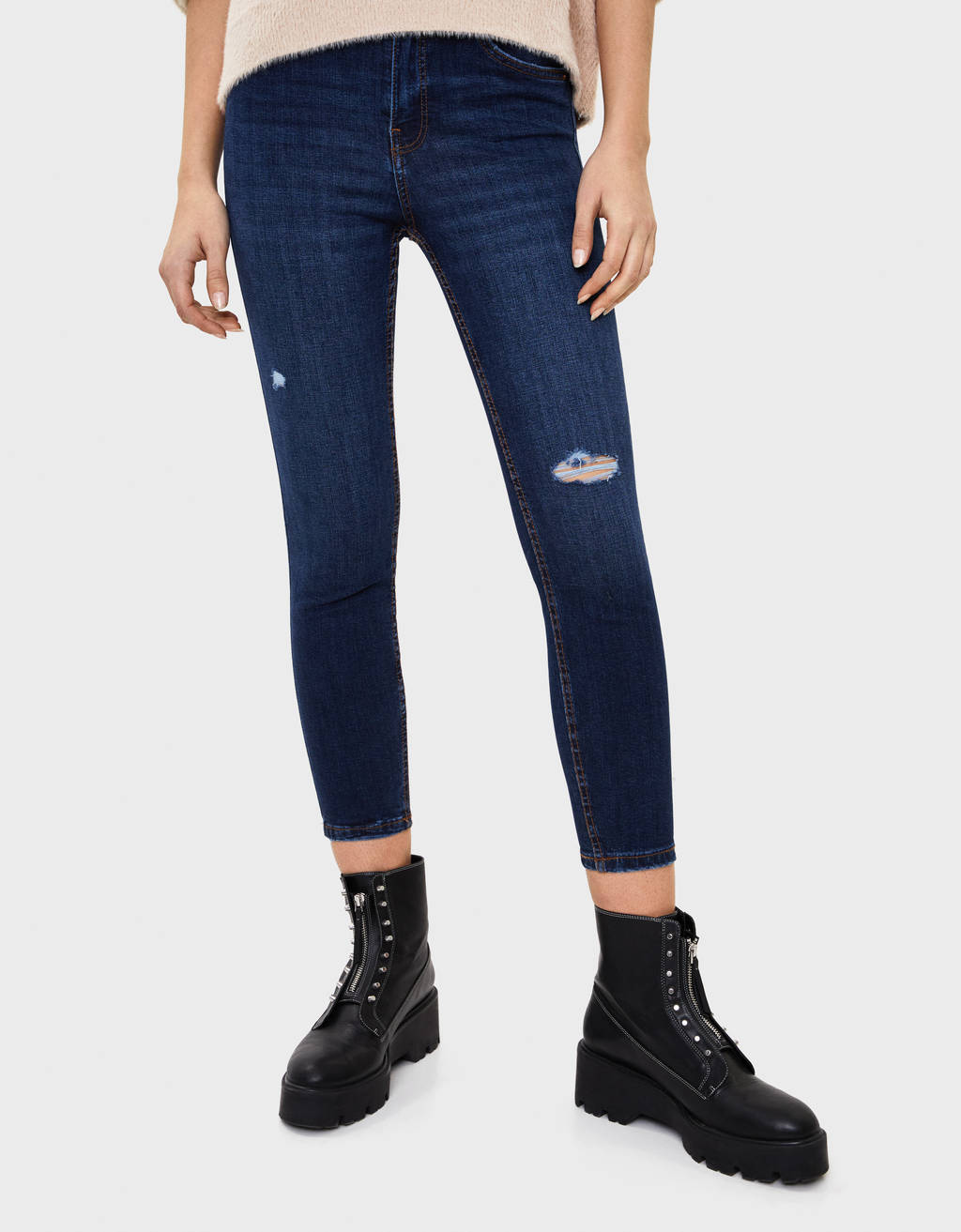 Cropped mid waist skinny jeans
