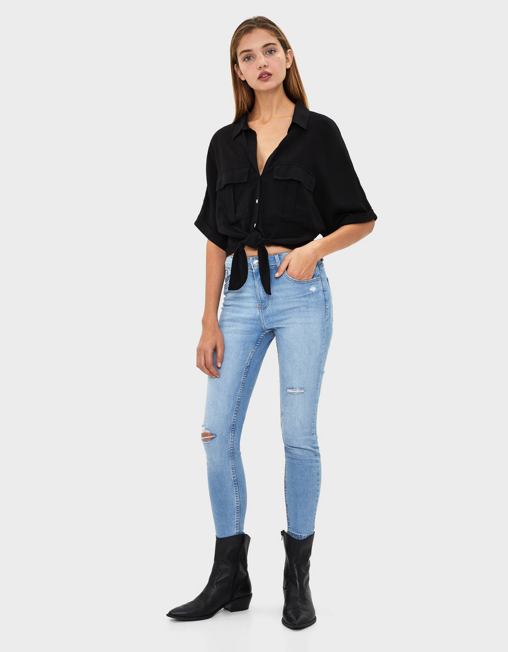 Jeans skinny 7/8 taille moyenne