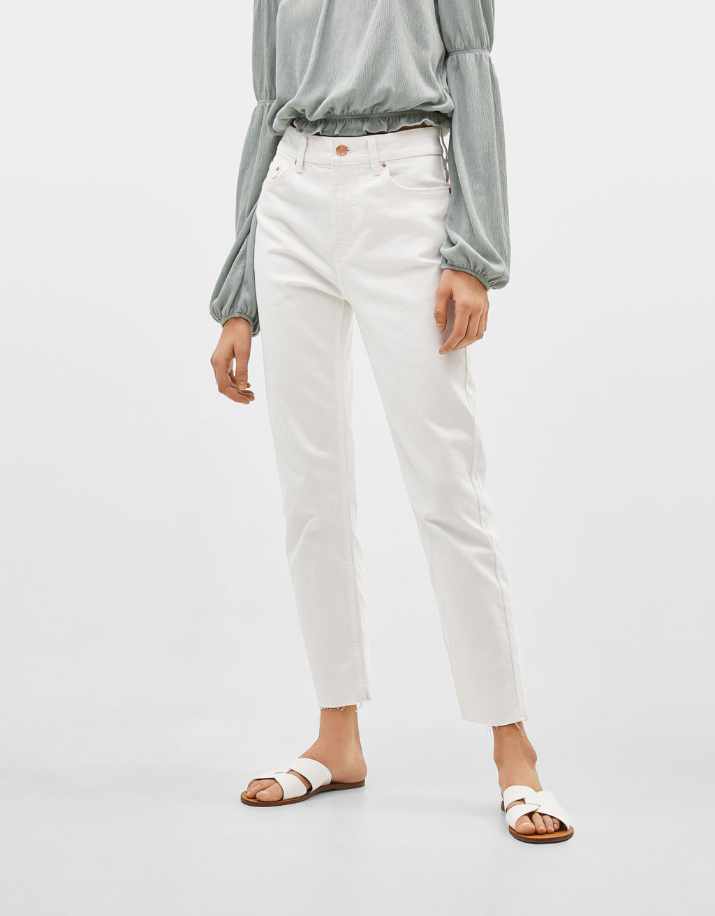 Cropped mid waist straight-leg jeans