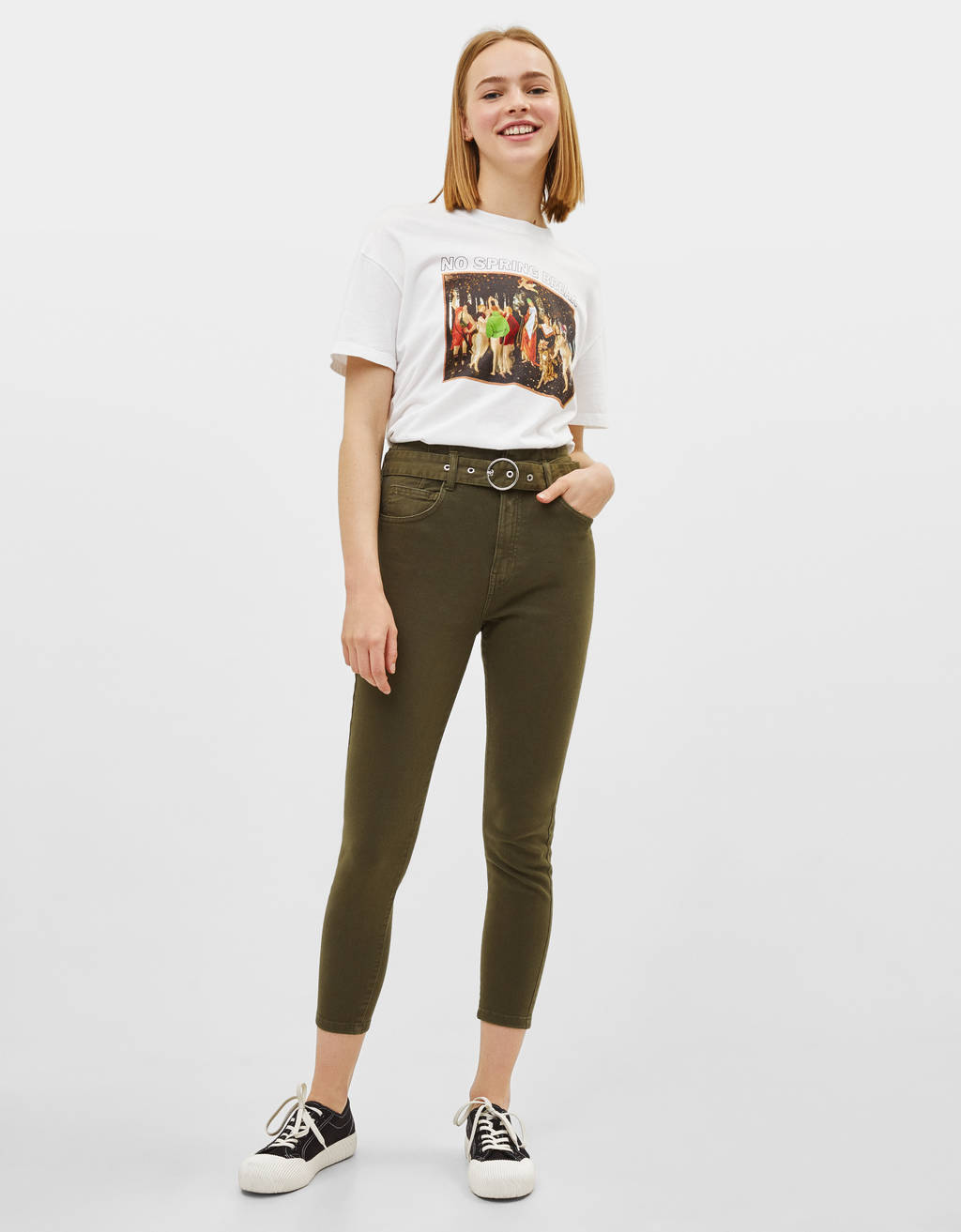 Belted trousers with waist piece