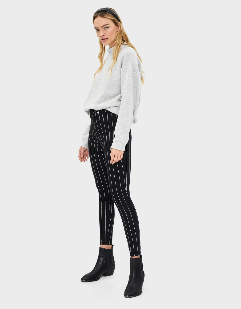 Belted high-rise jeggings