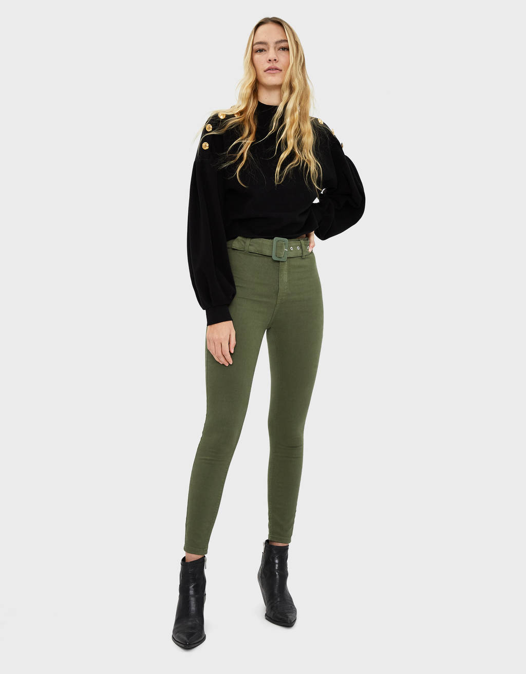 Belted high-waist jeggings