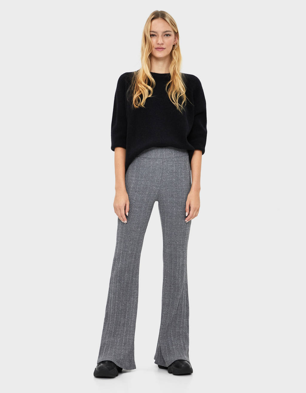 Ribbed bell-bottom pants