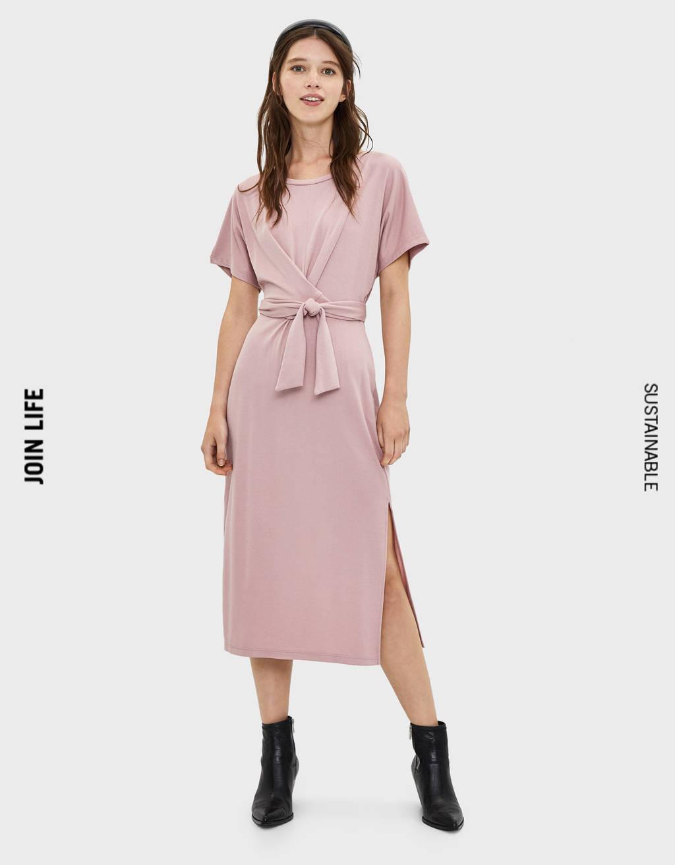 silk midi kleid with sleeves best price e2e38 8b20e