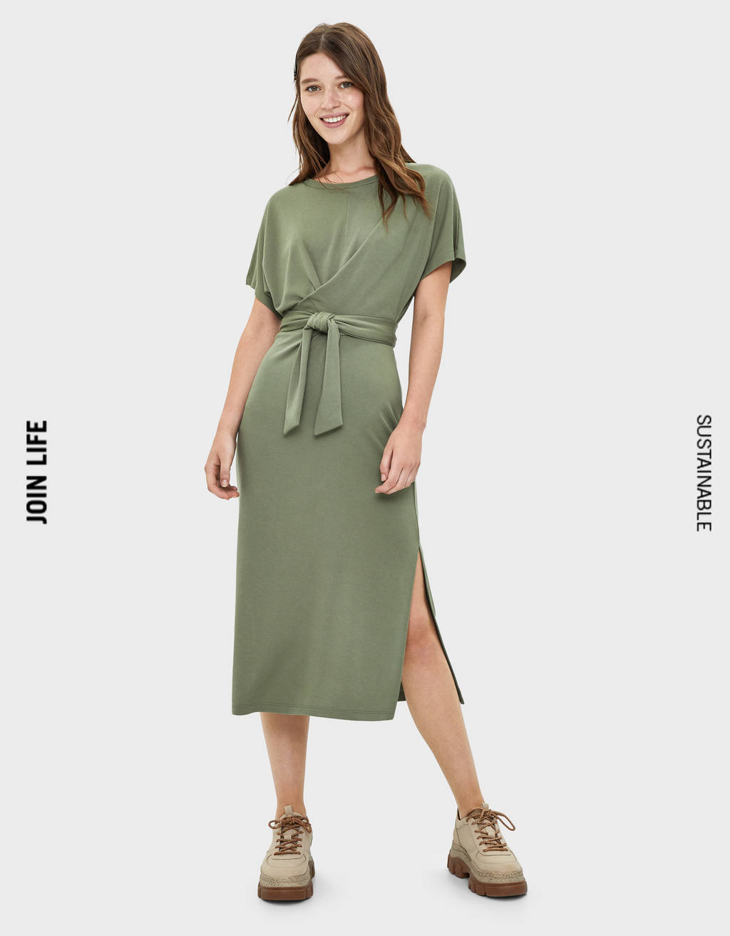 Midi dress with tie detail