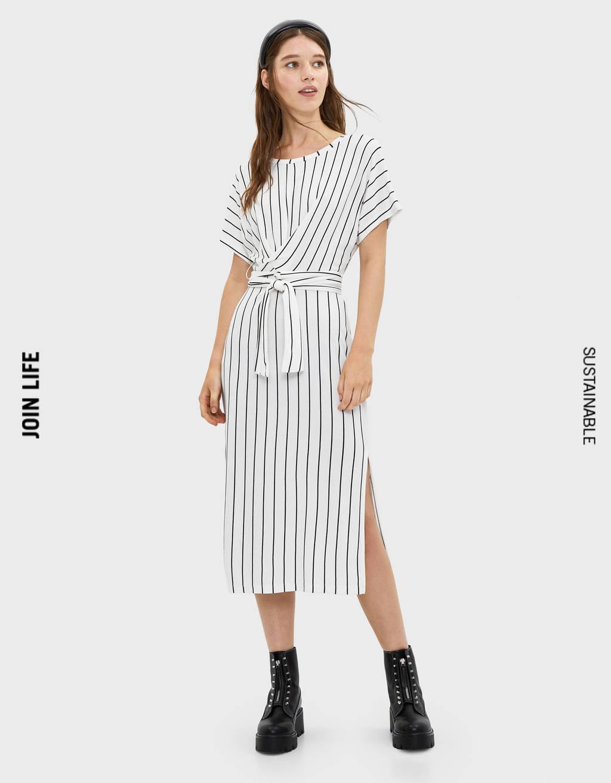 Midi-Kleid mit Schleife