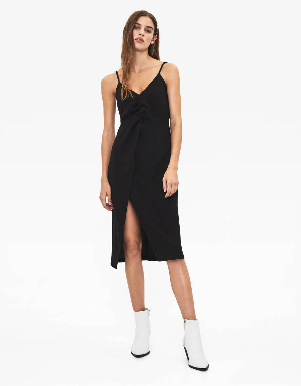 Geknoopte jurk met schouderbandjes