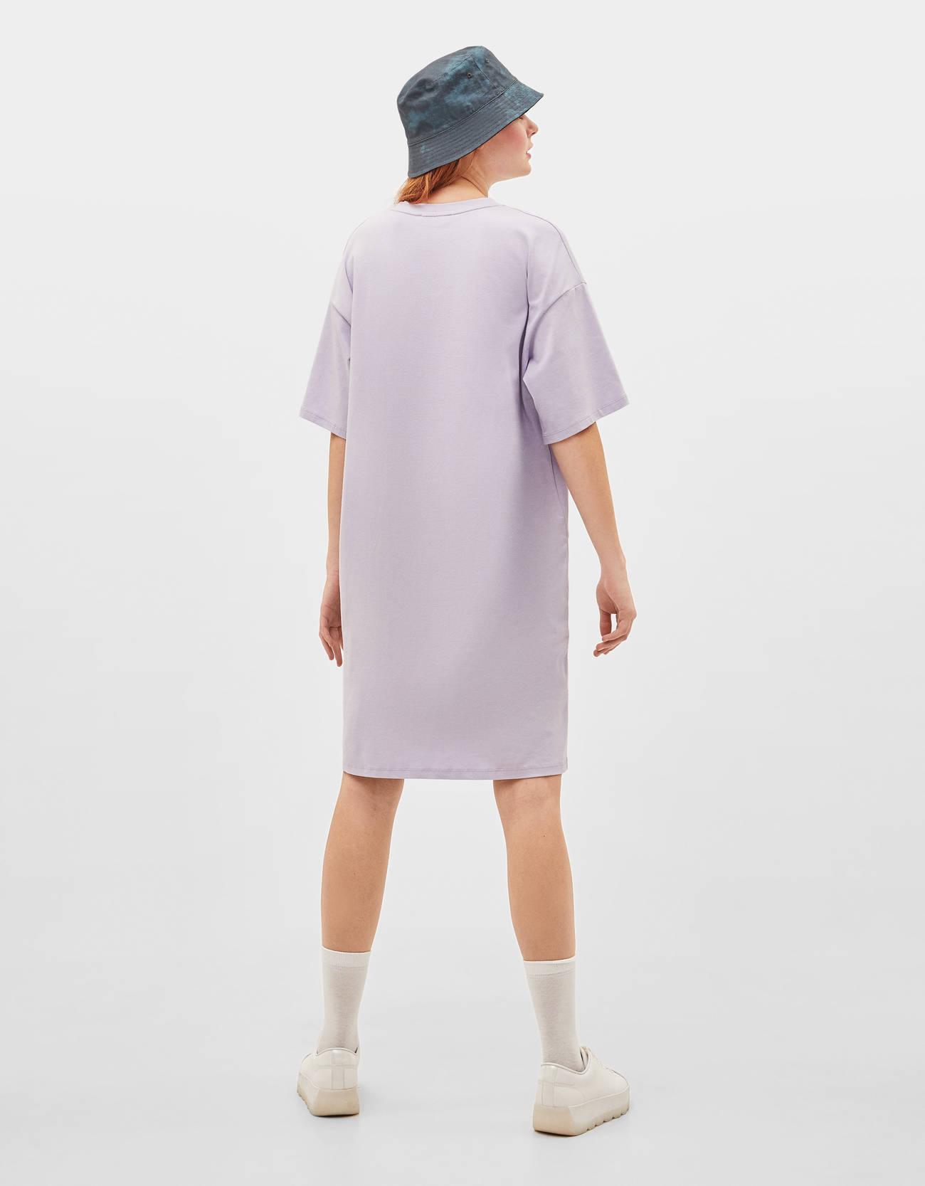 Платье свободного кроя Фиолетовый Bershka