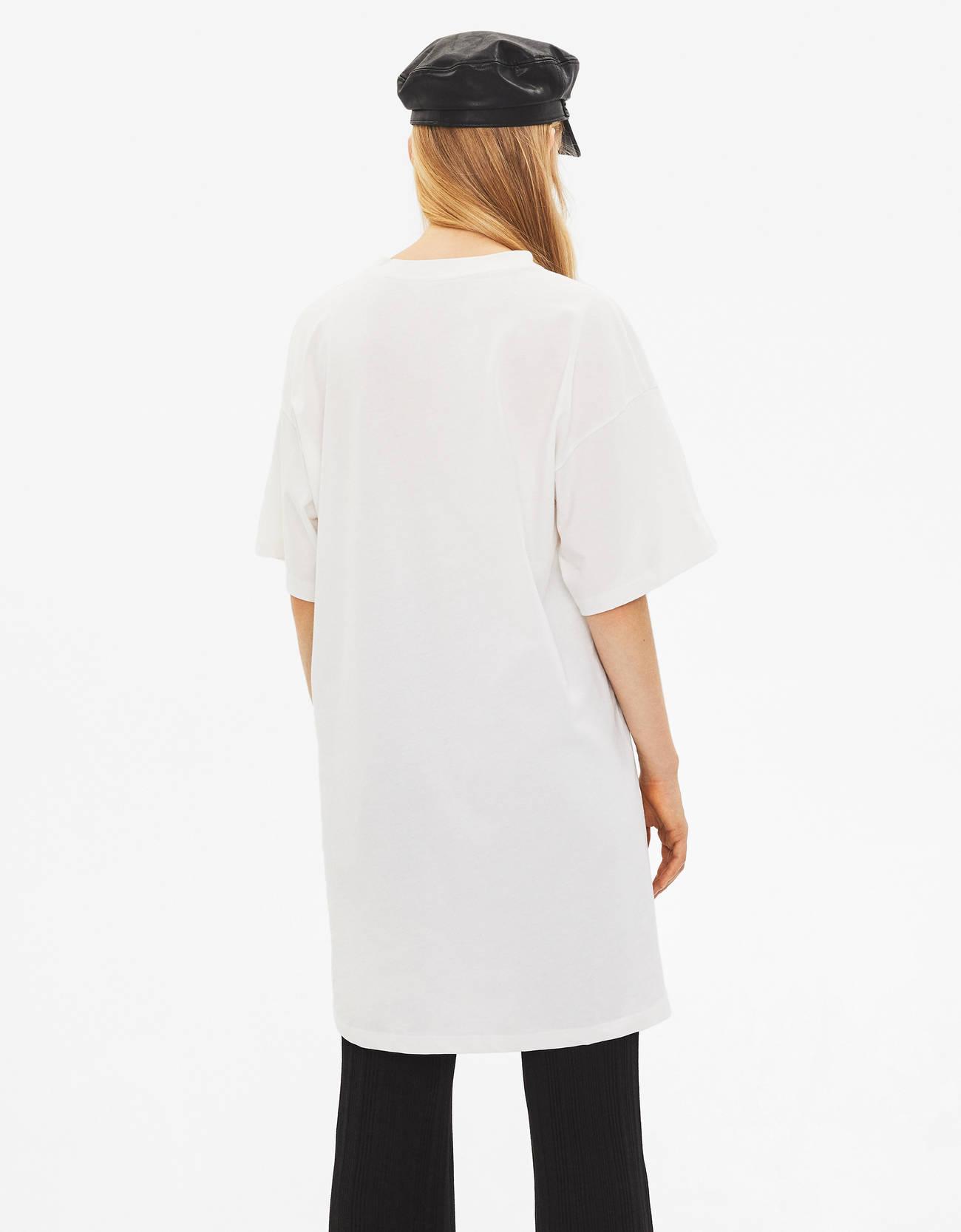 Платье свободного кроя Бежевый Bershka