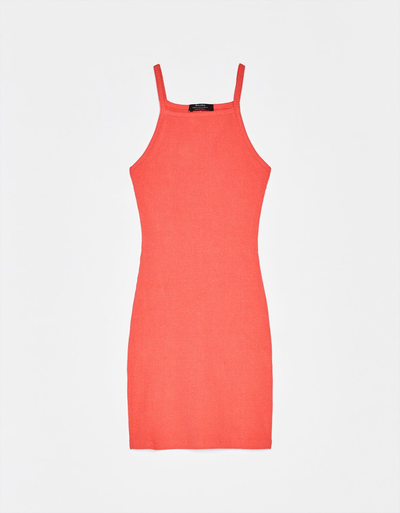 Короткое платье с вырезом халтер Коралловый Bershka