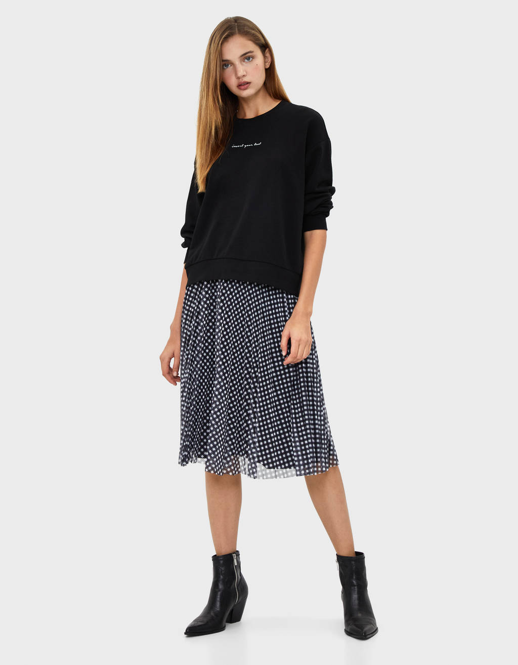 Pleated tulle midi skirt