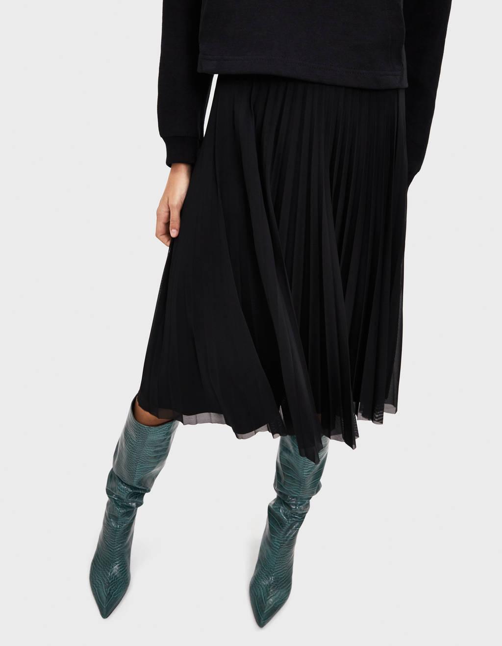 Midi suknja s plisiranim tilom