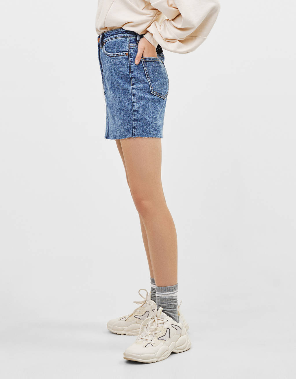 High waist denim skirt