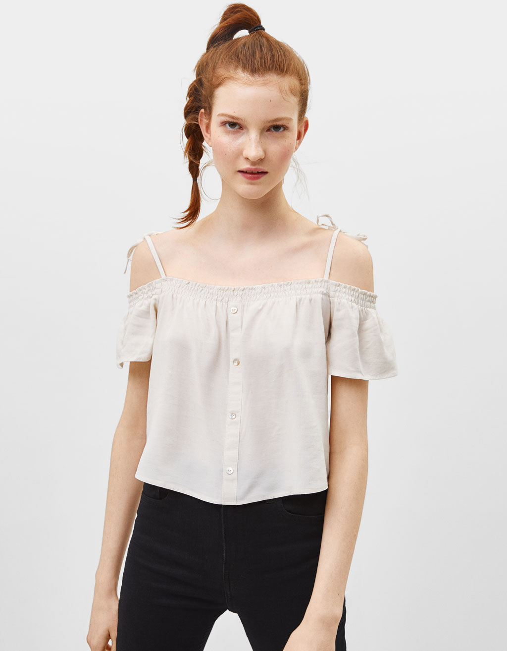 Strappy off-the-shoulder blouse