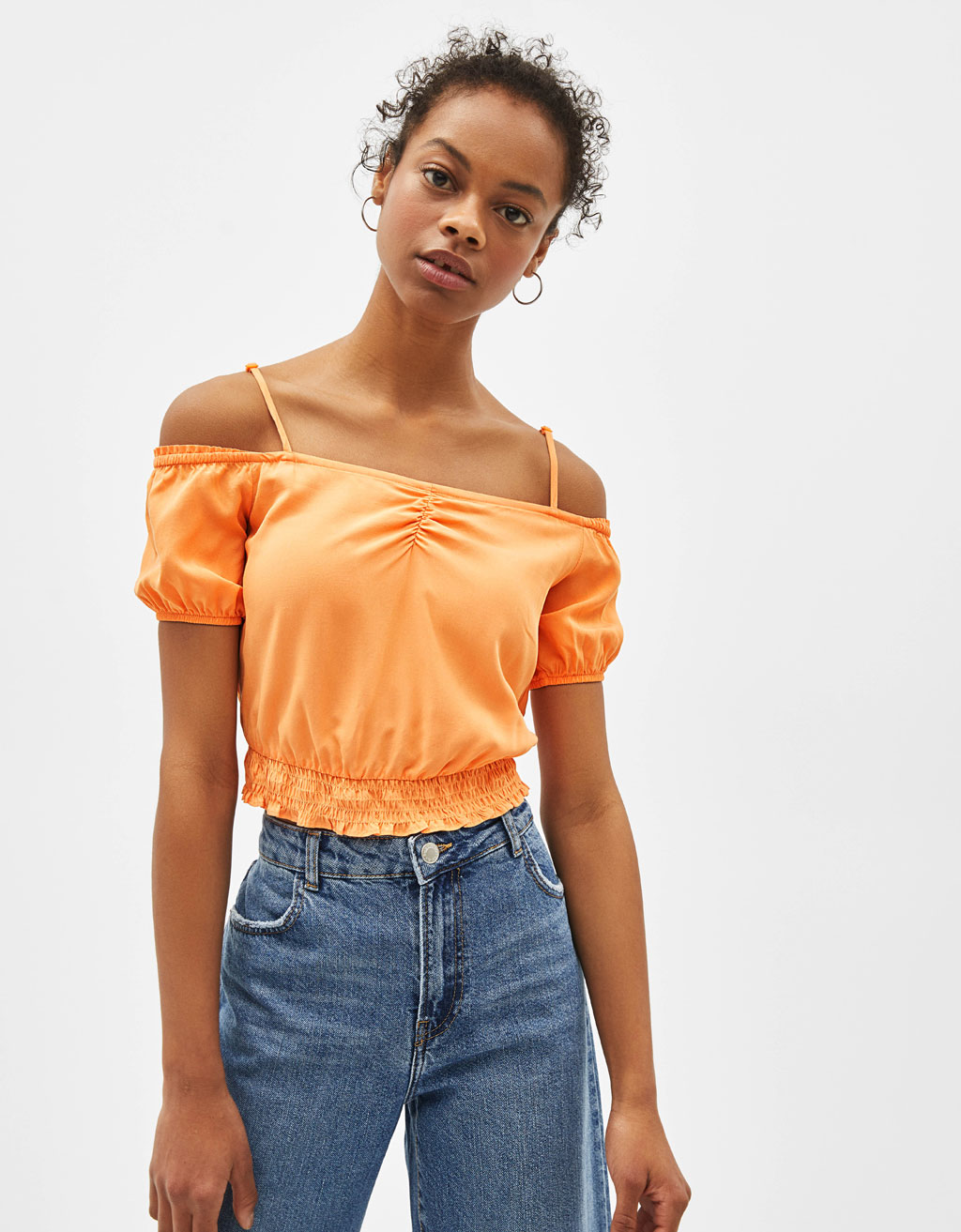 Off-the-shoulder blouse with straps