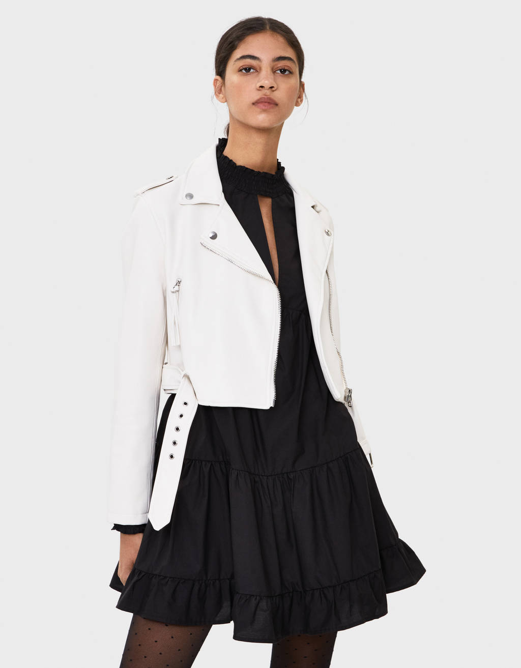 Cropped faux leather biker jacket