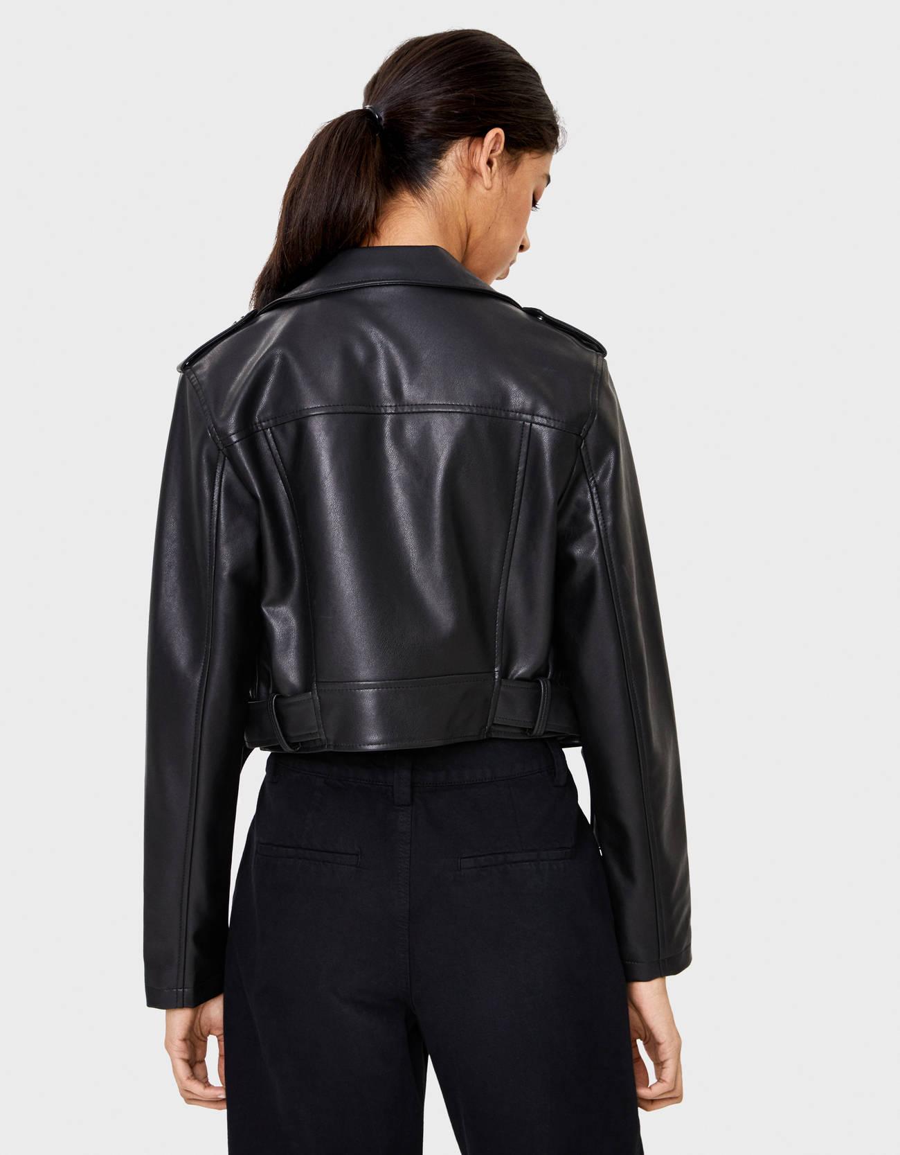 Modalite Net Bershka Cropped Faux Leather Biker Jacket