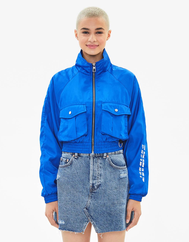 Nylon jacket with cargo pockets