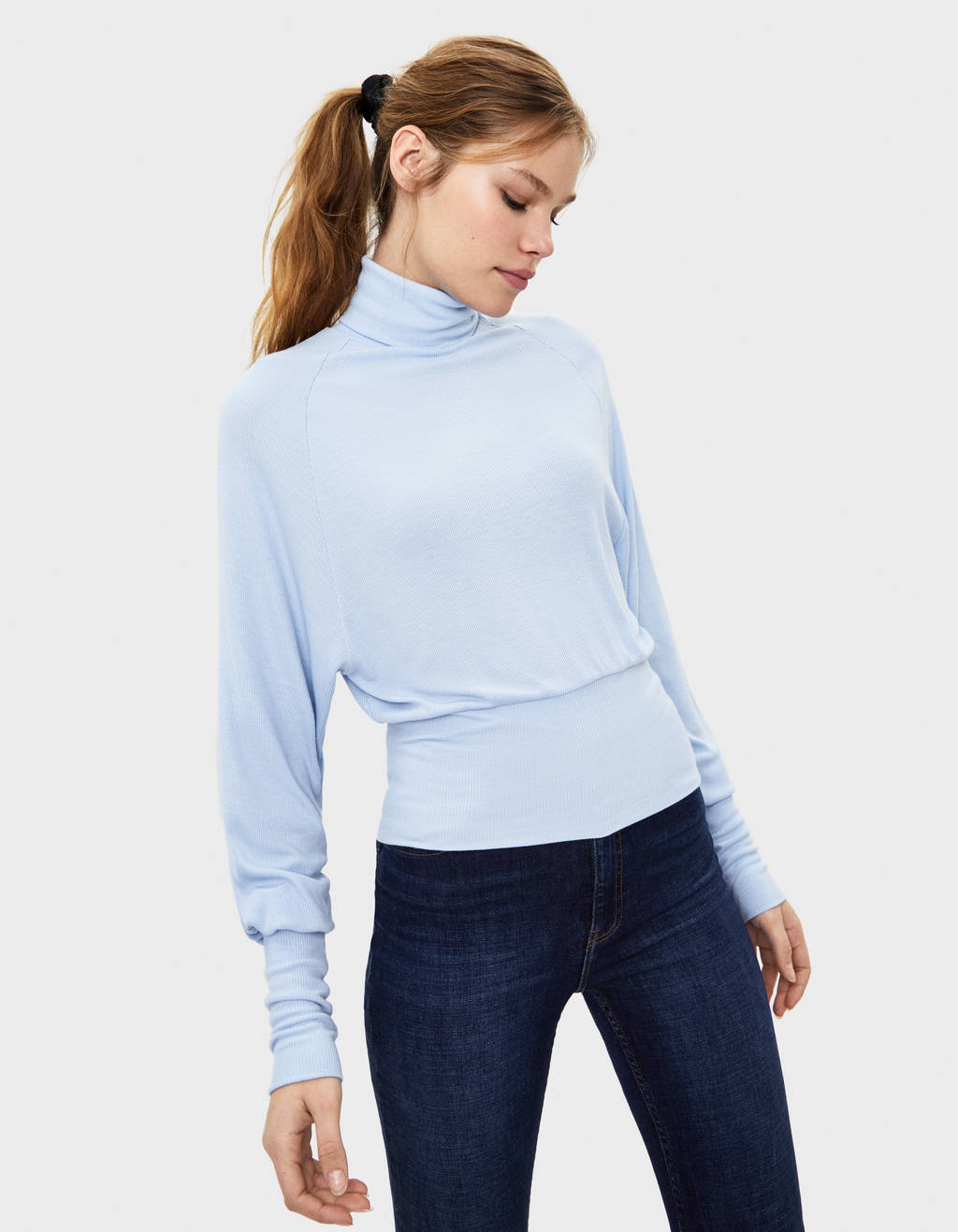 High neck voluminous top